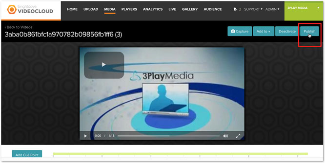 Publish from Brightcove Videocloud