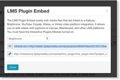 Copy iFrame embed for Brightcove interactive transcript audio description LMS plugin