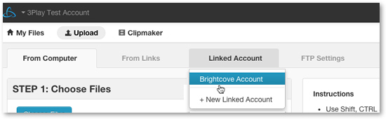 Select Brightcove account