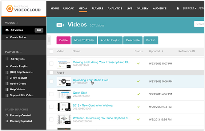 Select Brightcove video for 3Play Media closed captioning services