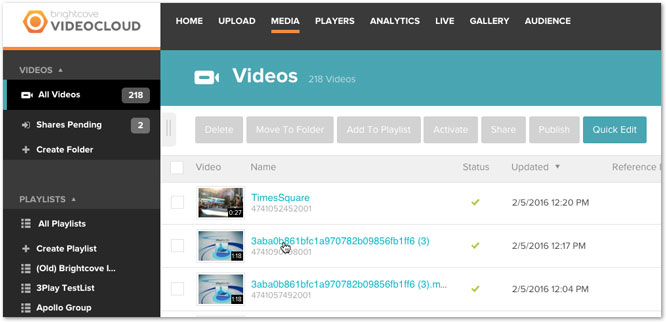 Select Brightcove video to embed with 3Play Media interactive transcript
