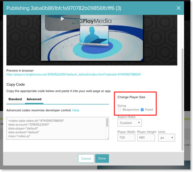Advanced Brightcove video embed code with fixed sizing