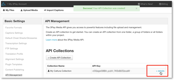 API collection details for closed captioning integration with Cattura Learning Engine
