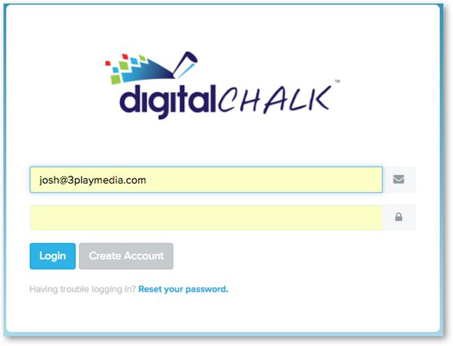 Digital Chalk Login Screen