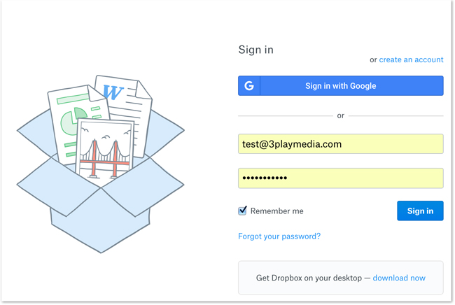 Dropbox Login Screen
