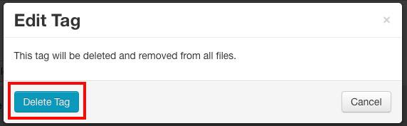 delete tag button