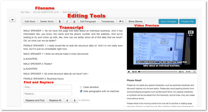 Edit Transcript interface overview