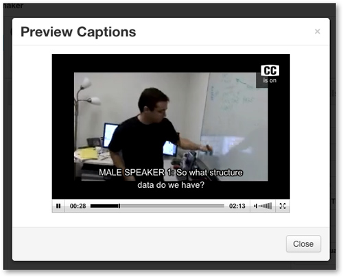 Video playing back with closed captions