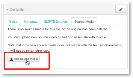 Add source media file to closed captions