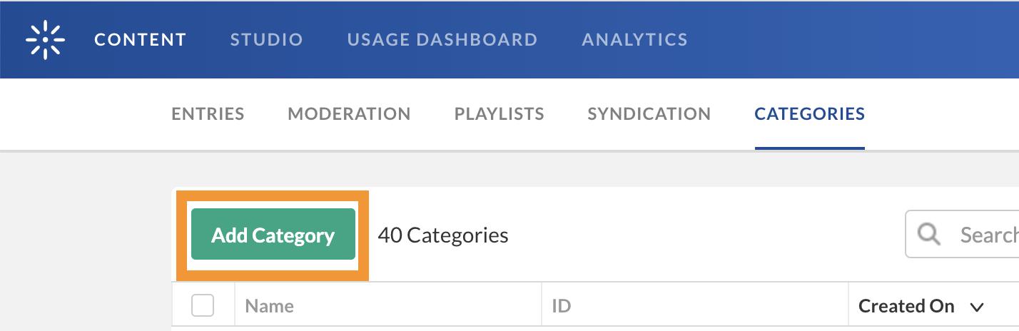 Kaltura Content Manage Edit Category