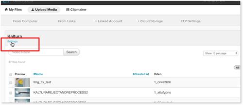 Click Kaltura video platform integration settings