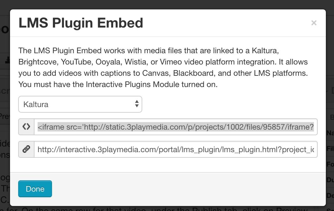 Copy iFrame embed for Kaltura interactive transcript audio description LMS plugin