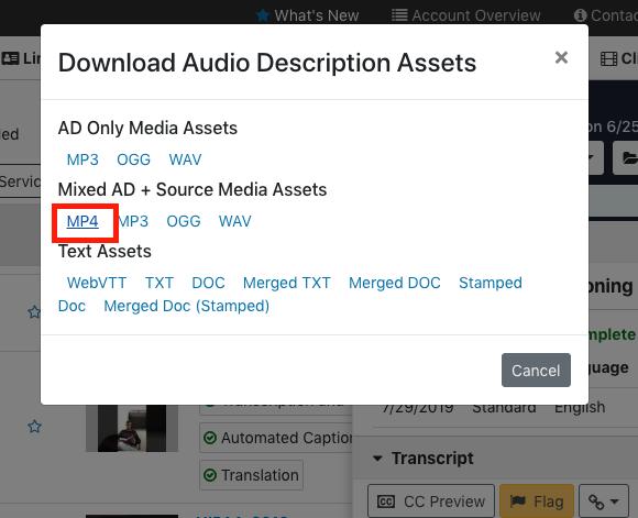 Download AD MP4 for Kaltura