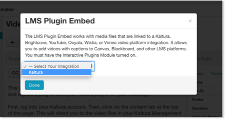 Select linked Kaltura account for LMS interactive transcript audio description embed code