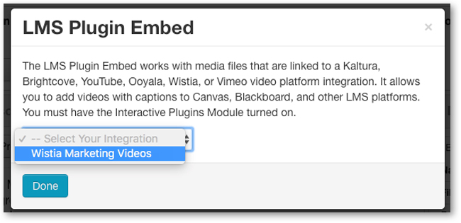 Select linked Wistia account for LMS interactive transcript audio description embed code