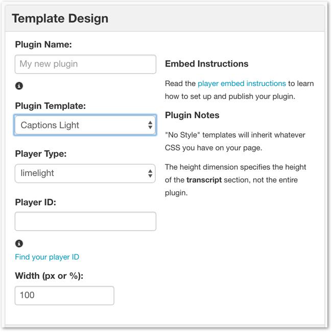 Create Captions Plugin Template
