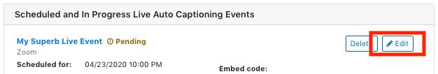 Edit pending event