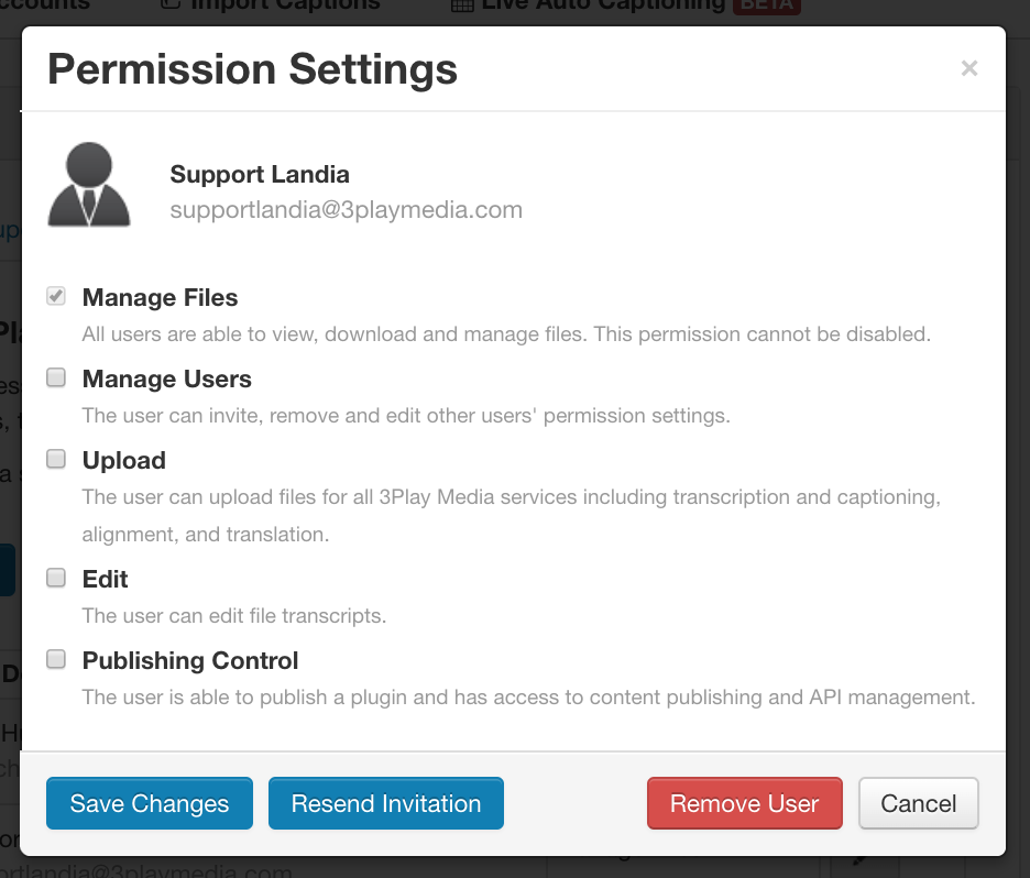 Settings Edit Project User