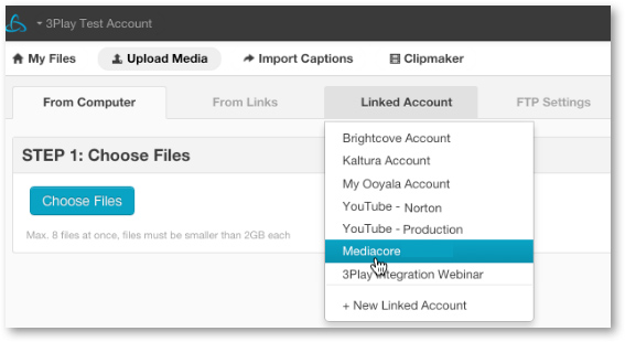 Select MediaCore linked account