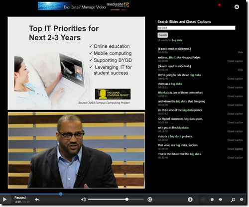 Navigate MediaSite lectures via searching closed captions text