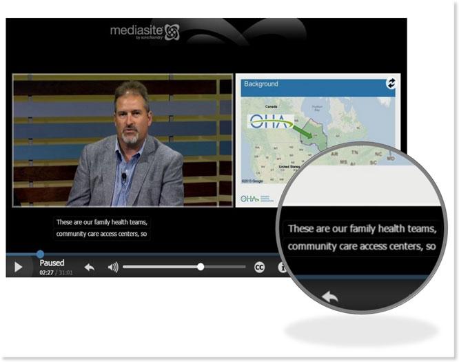 MediaSite closed captions