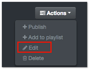 MediaSpace Actions Edit Video