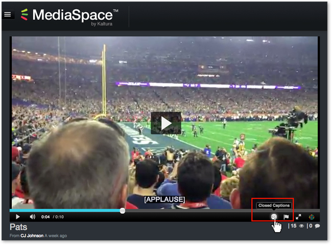 Turn Closed Captions on for MediaSpace video