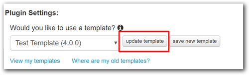 Update New Template Button