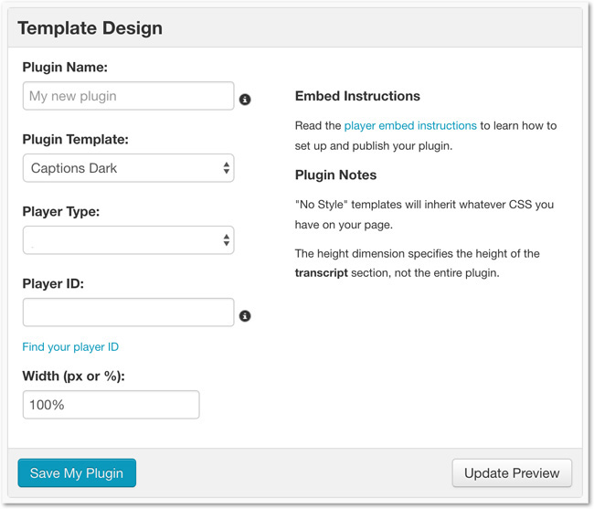 Captions Plugin Template Creation