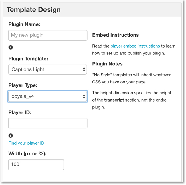 Create Captions Plugin Template for Ooyala