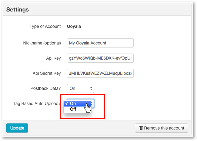 Enable Ooyala Auto Upload