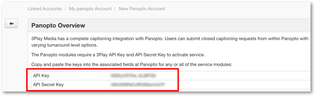 API keys for closed captioning integration with Panopto