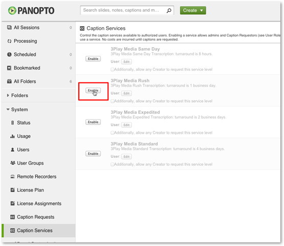 Enable 3Play Media for Panopto closed captions