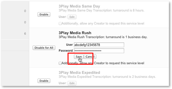Enter 3Play Media API keys for Panopto closed captioning integraton