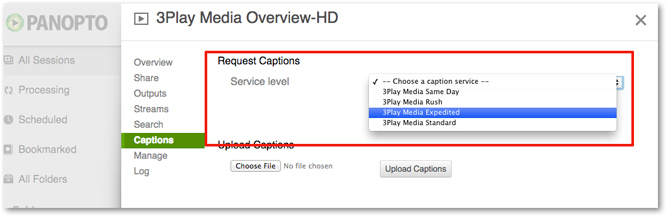 Closed Captions turnaround options for Panopto requests