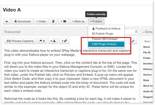 Select LMS Plugin to publish interactive transcript audio description with Ooyala
