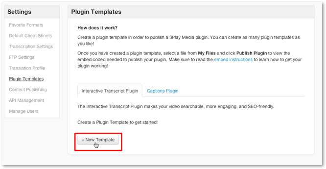 Click new template for interactive transcript captions plugin