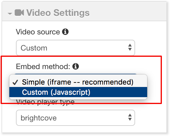 Embed Method drop-down options iFrame and JavaScript