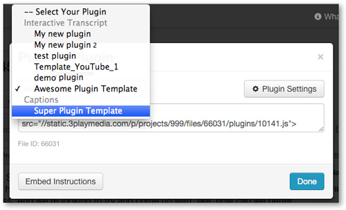 Select your Captions Plugin template