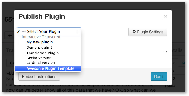 Select Plugin Template from drop down menu