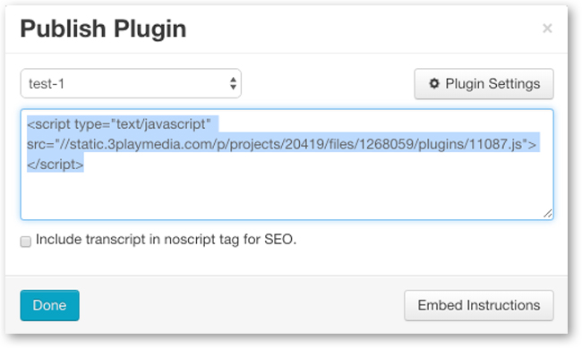 Copy plugin embed code
