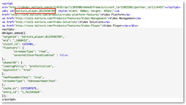 Kaltura embed code