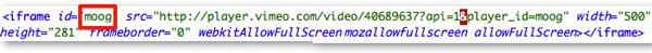 Vimeo iframe embed code