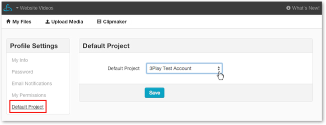 Click Default Project