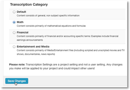 Transcription settings save changes