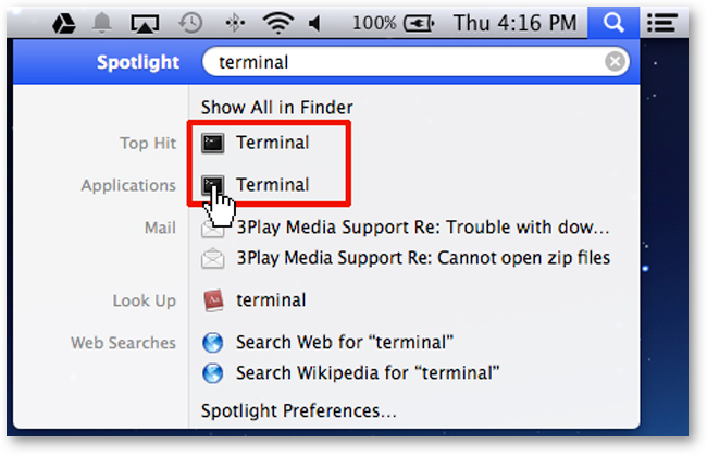 Search for Terminal Using Mac Search
