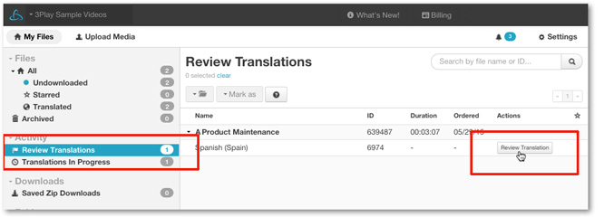 Translation review tool for Gengo 3Play Media translation integration