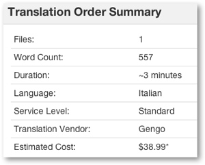 Translation order summary