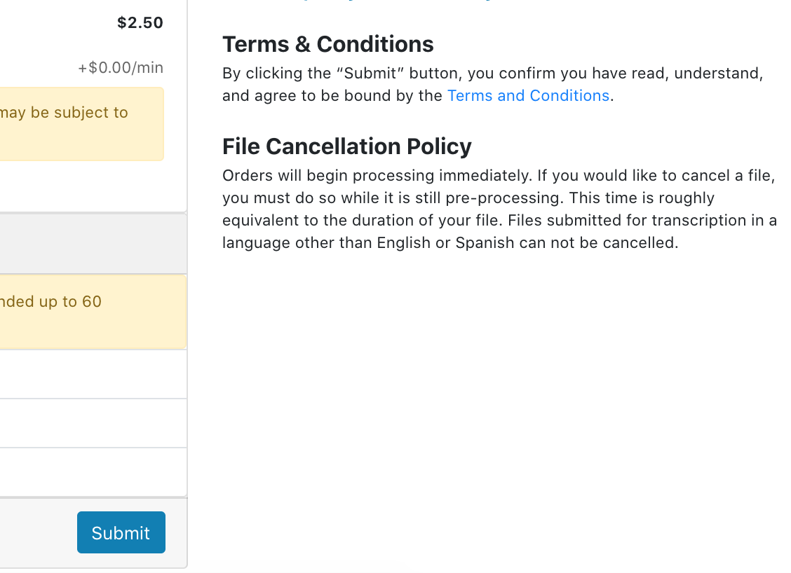 File Cancelation Policy