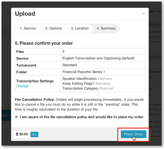 Captioning transcription upload and place orde